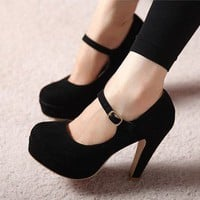 lulula-fashion shopping mall —elegant high-heeled shoes Fabric surface Slugged bottom