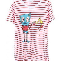 High Low Hem T-shirt with Red Stripe and Cartoon Monster Print