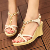 brilliant — The Roman style fish mouth wedge sandals for women's shoes