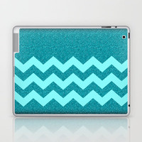 Chevron Teal Glitter Laptop & iPad Skin by Alice Gosling