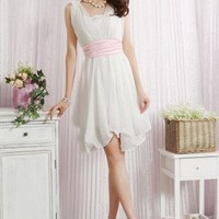 free belt and underlay white chiffon dress elegant sale s141 from YRB