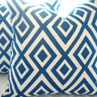 PILLOW SET (2) Royal Blue Geometric Decorative & Accent Pillow cover
