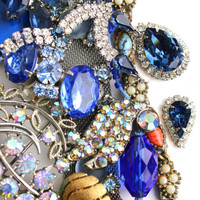Vintage Blue Broken Jewelry Lot - Earrings, Brooches, Necklaces, Rhinestones for Repair Repurpose / Over 1 Pound of Blue Destash Supplies