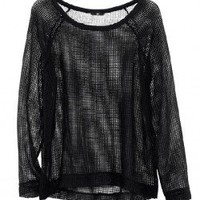Black Semi-sheer T-shirt with Raglan Sleeves