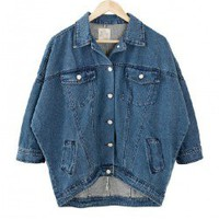 Boyfriend Denim Jacket with Batwing Sleeves