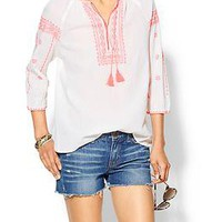 Maison Scotch Coral Embroidered Peasant Top | Piperlime
