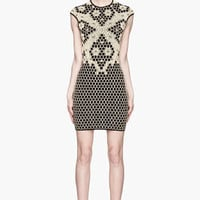 Alexander McQueen Yellow And Black Knit Honeycomb And Bees Jacquard Dress for women | SSENSE