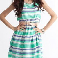 Green and Blue Striped Sleeveless Dress with Belt