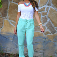 Catch My Breath Linen Pants: Mint | Hope's