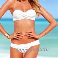 Women Halter Sexy 2 Pieces Bikini Swimwear Swimsuit Bathing Black White Pink