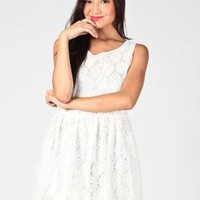 White Sleeveless Floral Lace Mini Dress with Round Neckline