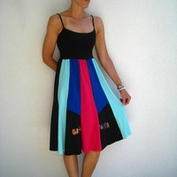 Tank Top T Shirt Dress / M / Hot Pink Mint Green Black Royal Blue / Knee Length / Flare / Soft / Cotton / Recycled / Upcycled / ohzie