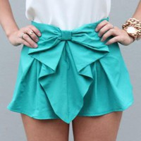 Turquoise Bow Front Shorts with Pleated Waist Detail