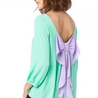 Coletta Bow Blouse in Mint and Lavender - ShopSosie.com