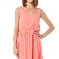 Sweet Bow Dress in Salmon - ShopSosie.com