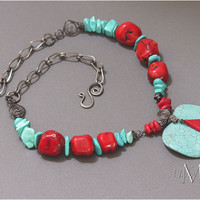 Turquoise Coral Howlite Pendant Steel Wire Necklace