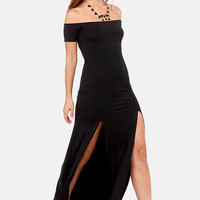 The Long Way Off-the-Shoulder Black Maxi Dress