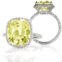 2.70 Total Carat Exquisite Cushion Cut Fancy Yellow 1.70 Center Diamond Engagement Ring in 18k Solid Gold Diamond with GIA Certification