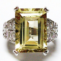 "Yellow citrine ring, yellow quartz ring sterling silver with platinum overlay s 5 ""I love Lemon"""