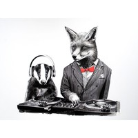 DJ Crafty Fox and MC Badger 11x14 print, Buy Unique Gifts From CultureLabel.com