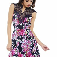 Navy Floral Fit and Flare Dress with Crochet Neckline
