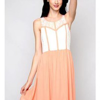 Peach & White Lace Bodice Sleeveless Dress with Peach Trim