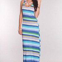 Royal Blue Multi Stripped Print Maxi Dress