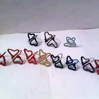 Assorted adjustable double heart wire wrapped ring, you pick color