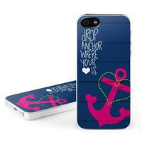 Drop Anchor Design Snap on Hard Case Faceplate Cover for Apple iPhone 5