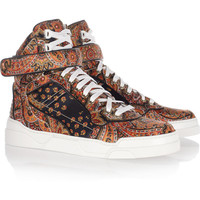 Givenchy | Printed silk-twill high-top sneakers | NET-A-PORTER.COM