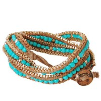 Turquoise Bead Coveted Wrap Bracelet with Button Closure