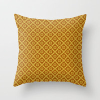 Gold Retro Feeling Diamonds and Squares Pattern Throw Pillow by Jaclinart