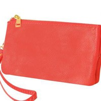 Coral Small Faux Leather Wristlet with Zip Closure