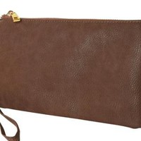 Taupe Faux Leather Wristlet with Cross Body Strap
