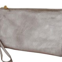 Gold Faux Leather Wristlet with Cross Body Strap