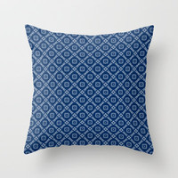 Navy Blue Modern Diamonds Pattern Throw Pillow by Jaclinart