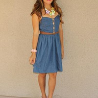 Lattice Front Denim Dress