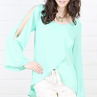Mint Slit Sleeve Top and Shop Tops at MakeMeChic.com