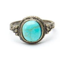Brandy ♥ Melville |  Silver Ring with Turquoise Stone - Jewelry - Accessories
