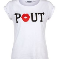 New Look Mobile | Teens White Textured Pout Lips T-Shirt