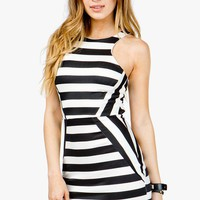 Stripe Panel Contrast Bodycon Dress