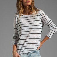 BB Dakota Callie Stripe Linen Jersey Top in Dirty White/Black from REVOLVEclothing.com