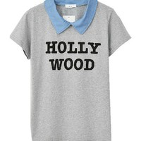 HOLLY WOOD T-shirt with Contrast Collar