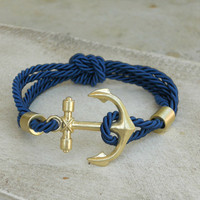 Rope and Anchor Bracelet [3950] - $17.00 : Vintage Inspired Clothing & Affordable Summer Frocks, deloom | Modern. Vintage. Crafted.