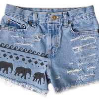 Tribal Aztec Elephant Waves Shorts Hand Painted Vintage Distressed High Waisted Denim Coachella Boho Hipster Extra Small XS W24