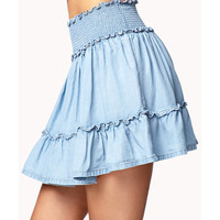 Denim Flounce Skirt