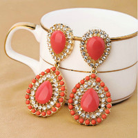 Boho Style Coral Color Rhinestone Teardrop Statement Dangle Earrings wholesale