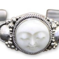 Sterling Silver Cuff Bracelet, &#x27;Moon Goddess&#x27;