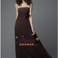 Chocolate Chiffon Bridesmaid Dress With Floral at Waist