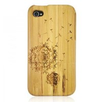 Generic Bamboo Case for iPhone 4 / 4S - Carved Dandelion Color Wood